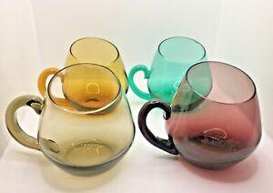 Vintage Glass  Mugs Asymetrical Rim  Green Amber Smoke Aubergine  Blenko  Style