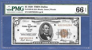1929 $5 FRBN    ♚♚DALLAS♚♚    PMG GEM UNC 66 EPQ