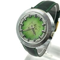 Vintage Men Wristwatch RAKETA Green Puck Ribbed UFO Soviet Mechanical Rare USSR