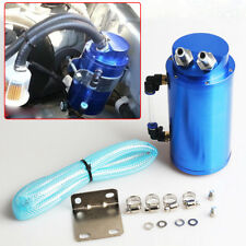 Universal Blue Aluminum Cylinder Oil Catch Radiator Reservoir Tank Breather Can