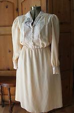 Vintage Peach Sheer Beige Lace Long Boho Dreamy Dress Fully Lined