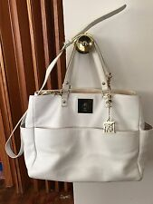 DKNY White LEATHER SQUARE T LOCK TOTE BAG #743316207