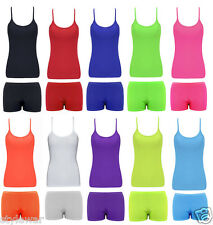 Ladies/Girls Vest Hot Pants Neon Lycra Beach Clothes Festival Casual Top Bottom