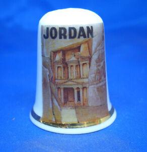 Birchcroft China Thimble -- Travel Poster Series - Jordan - Free Dome Box