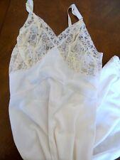 VTG Elegant Penney's Adonna White lace nylon tricot sz 32 Slip Gown Lingerie