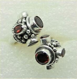 VINTAGE STERLING SILVER GARNET MAN'S BYPASS STYLE RING SIZE 10.5  - LB-C2424