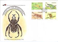 ZIMBABWE, 1988 INSECTS OF ZIMBABWE, (1ST SERIES) ILLUST FDC.