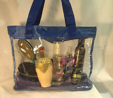 Clear Vinyl Blue Trim Consultant Beach Shopping Travel Tote Bag Purse Security