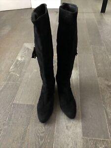 Worn Once STUART WEITZMAN Black Suede Knee High zip-up Mid Heel Boots U.K. 6.5