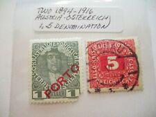 Two 1894-1916 Austria-Osterreich Postage Stamps - 1,5 Denomination