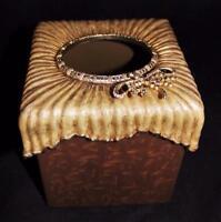 Jay Strongwater Kleenex Tissue Box Cover Holder Brown DragonFly Swarovski Jewels