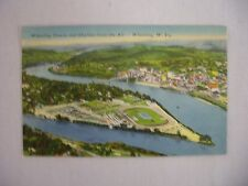 VINTAGE LINEN POSTCARD WHEELING DOWNS & SKYLINE FROM AIR WHEELING W.V. 1952