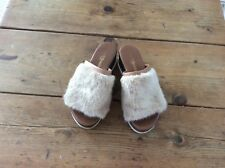 RUSSELL & BROMLEY BROWN FUR TRIM SLIP ON SANDALS SZE UK 3 (36)