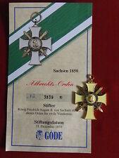 GÖDE Orden Sachsen 1850 - Albrechts Orden + Zertifikat Nr.3839