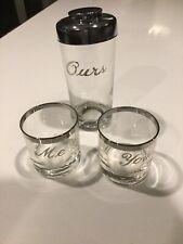 Vintage 4 Piece Cocktail Set Silver Rim Glass You Me & Ours Mid Century Set