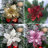 10pcs Christmas Ornament Poinsettia Glitter Flower Hanging Tree Party Decoration