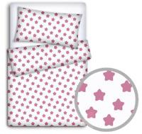 BABY BEDDING FIT CRIB SET 70x80cm PILLOWCASE DUVET COVER 2PC Pink Stars On White
