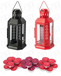 Lantern For Tealight Candle Decoration Garden Party Scented Candles Black Red