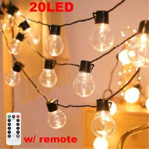 20Bulbs Retro String Lights Garden Festoon Party Fairy Lamp Battery Operated UK