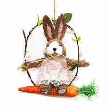 Thatched Wooden Easter Bunny Wreath on Carrot Swing Rustic Hanging Decoration