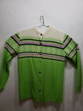 Arctic Cat Arctic Wear Vintage Women's Button Sweater Size Large White & Green