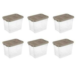 Sterilite, 30 Qt./28 L Stacker Box, Taupe Splash Storage Containers Totes 6 Pack