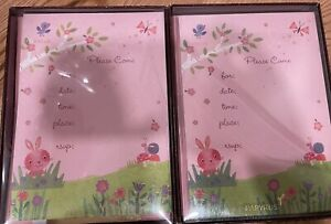 NIB Papyrus Party Boxed Invitations Baby Kids Shower 20 Cards New Glitter Pink