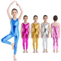 UK Kids Girls Gymnastics Leotard Full Bodysuit Ballet Unitards Dancewear Costume