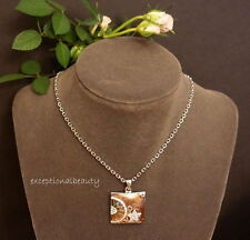 "Brown Enamel Crystal Rhinestone Square Pendant Star Flower 16"" Chain Necklace"