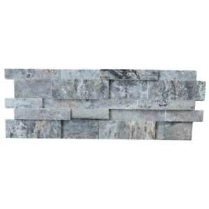 "Silver Travertine Stacked Stone Ledger Panel - Stone Siding - 1 pcs 4""x4"" Sample"