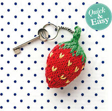 KNITTING PATTERN LADY MEN CHILD BERRY KEY RING & CAMERA STRAP QUICK EASY SKM A1A