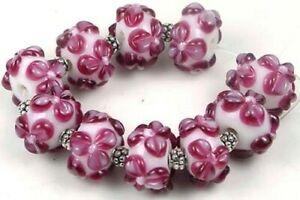LAMPWORK Handmade Glass Rondelle beads - Cranberry (10)