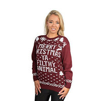 Womens Merry Christmas Ya Filthy Animal Xmas Ladies Jumper Knitted Sweater Top