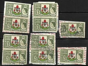 BERMUDA 1953-62. £1 x 10 FISCAL USED (HOLE PUNCH) SG. 150.  (1353)