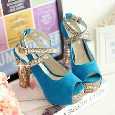 Lady womens Peep toe platform gold paillette strappy high block heel shoes pumps