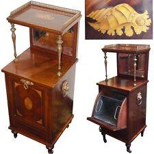 "Rare Antique Victorian 37.5"" Coal Scuttle Cabinet, Purdonium, Seashell Marquetry"