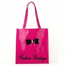Ladies Tote Bag Fushia Bowknot Decor Patent Large Casual Handbag Designer UK