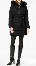 Ivanka Trump Black Faux Fur-Trimmed Triple Clasp Front Puffer Down Coat NWT S