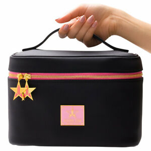 NIP JEFFREE STAR TRAVEL MAKEUP BAG~BLACK WITH HOT PINK INTERIOR~GORGEOUS!