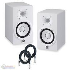 Yamaha HS5 Powered Studio Monitors Pair WHITE w/ XLR Cables - Bundle