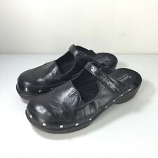 Sanita 38 7 7.5 black leather mules clogs studded Comfort Career Cute