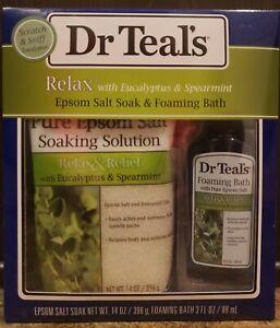 Dr Teal's Relax With Eucalyptus Spearmint Epsom Salt Soak 14oz Foaming Bath 3oz