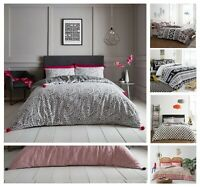 New Designer POM POM Style Printed Reversable Duvet Cover+PillowCase Bed Set Gc
