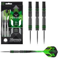 Harrows Veridian 90% Tungsten Steel Tip Darts - Black Titanium with Green Rings
