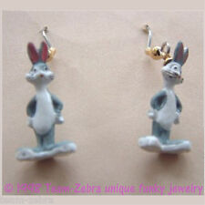 Funky BUGS BUNNY EARRINGS Looney Tunes Charm Mini Figure Novelty Costume Jewelry