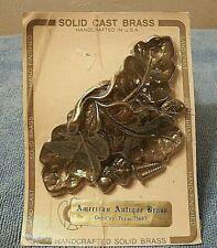 3 Solid Brass Cabinet Cup Pull Handles Leaves + Acorns Door/Cupboard/Dresser