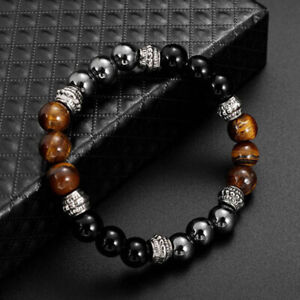 Tiger Eye Stone Hematite Magnetic Bracelet Therapy Arthritis Pain Relief Gifts