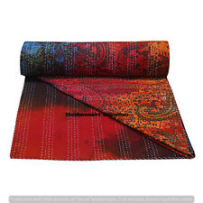 Twin Paisley Tie Dye Bedcover Bohemian Cotton Kantha Quilt Bedding Decor Blanket