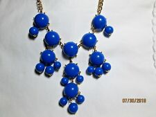 Summer Fun Necklace Blue and Goldtone Bib
