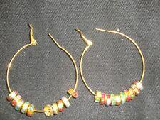 Par de tamaño medio aro Pendientes Chapado en Oro 50mm cargada con cristales